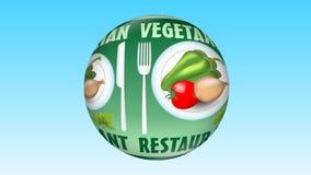Video vegetariano della pubblicità del ristorante con pepe, pomodoro, cipolla, verdure sul piatto bianco, immagine che gira sul v royalty illustrazione gratis