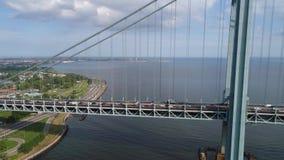 Video Verrazano för flyg- surr bro New York arkivfilmer