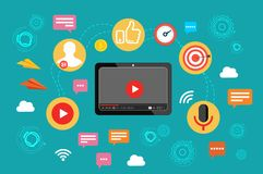 Video. Video broadcast. The concept of video marketing. Vector illustration in flat design. Video marketing concept banner. Vector flat illustration for web Stock Photos