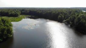Video von einem breiten Fluss von der Luft Die Biegung des Flusses stock footage