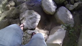 Walk On Rocks. Video of Walk On Rocks stock footage