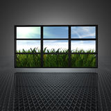 Video wall. With clouds and sun on the screens vector illustration