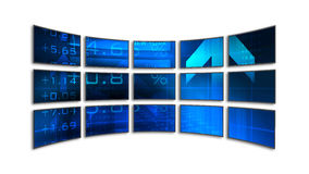 Video Wall. 15 LCD / plasma screens showing business data Stock Photography