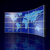 Video Wall. With world map and abstract graph stock illustration