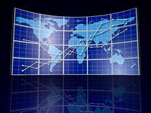Video Wall. With world map and abstract graph Stock Photo