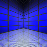 Video wall with blue screens. In 3d vector illustration
