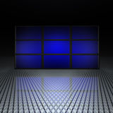 Video wall with blue screens. In 3d stock illustration