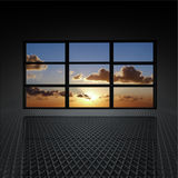 Video wall with clouds and sun on. The screens royalty free illustration
