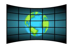 Video Wall Displaying Earth. Illustration featuring a control room equipped with a video wall of flat tv screens displaying the Earth isolated on white Royalty Free Stock Photos