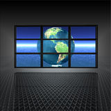 Video wall with earth on. The screens in 3d vector illustration