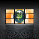 Video wall with earth on the screens. In 3d stock illustration
