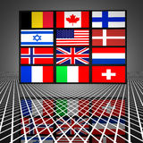 Video wall with flags Stock Photography