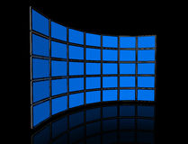 Video wall of flat tv screens. 3D video wall of flat tv screens, isolated on black. With 2 clipping paths : global scene clipping path and screens clipping path stock illustration