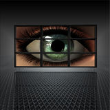 Video wall with girl eye. On screens Royalty Free Stock Images