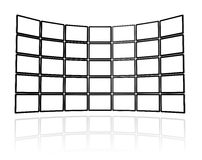 Video wall made of flat tv screens. 3D Video wall made of flat tv screens, isolated on white. With 2 clipping paths : global scene clipping path and screens Royalty Free Stock Photography