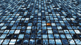 Video wall with many media icons blue and sepia elements. 3D rendering. 3D rendering of a scrolling image screen which shows a lot 3D icons. The entertainment Stock Photography