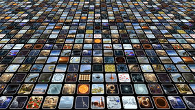 Video wall with many small icons on monitors. 3D rendering. A 3D rendered image of a video wall. An icon media image screen which shows many small monitors stock illustration