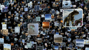 Video wall with many small icons popping up. 3D rendering. A 3D rendered image of a video wall. An icon media image screen which shows many small monitors Stock Images