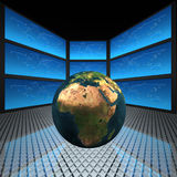 Video wall with screens. World Royalty Free Stock Photo