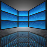 Video wall with screens. World map vector illustration
