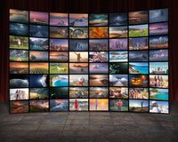 Media and TV as technology concept as video wall. Video wall in television production room as technology concept with colorful screens royalty free illustration