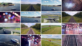 Video wall transportation videos. Transport, delivery, travelling background. stock footage