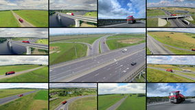 Video wall: Trucks dryving at freeway. Aerial top view from above. Transportation cargo delivery logistics concept. 4K stock video footage