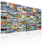 Video wall of TV screen Stock Photos