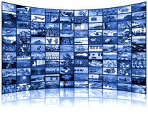 Video wall of TV screen. A variety of images as a big video wall of the TV screen royalty free stock images
