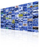 Video wall of TV screen Stock Images