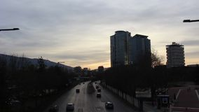 A car traffic on Bulgaria Boulevard near the National Palace of Culture in Sofia at evening cars and a short clip. This video was taken in Bulgaria, mount Marth stock video footage