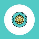 360 video or web round camera icon. 360 video or web round camera icon in flat line design. Vector illustration in yellow and turquoise color on isolated Stock Photos