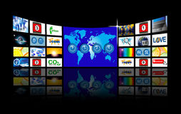 Video wide screen wall Stock Photo