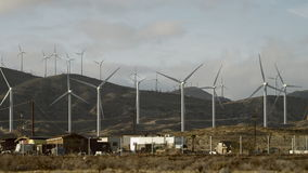 The video of windmills in the outskirts stock video footage