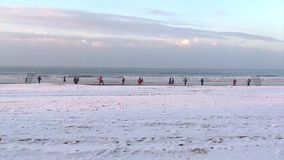Winter Beach Footbal. Video of Winter Beach Footbal stock video footage