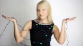Video of woman with colour lights stock footage