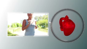 Video of a woman jogging with a heart animation stock footage