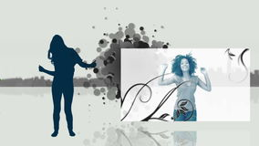 Video of women dancing and silhouettes royalty free illustration