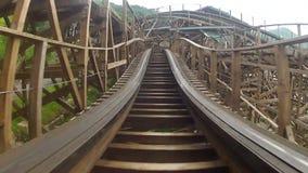 Wooden roller coaster stock video