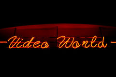 Video World neon sign Royalty Free Stock Photos