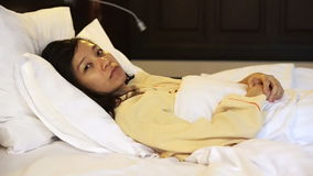 Video worried asian woman in bed, insomnia and thinking about life. Video worried asian woman in bed, insomnia thinking about life stock video footage