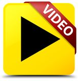 Video yellow square button red ribbon in corner. Video isolated on yellow square button with red ribbon in corner abstract illustration Stock Photos
