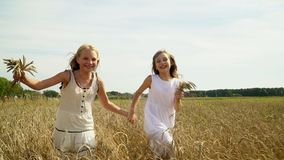 Two girls run on the gold field of wheat. Two beautiful lovely girls in white light dresses run across the field of. On this video you can see as the girl runs stock footage