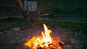 On outdoors the fire burns. Beautiful evening at a fire in Altai.Bonfire burning outdoors in forest by the lake in the stock video footage