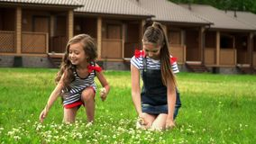 Two girls have fun on recreation facility on a glade. On this video you can see as two setra sit in the park on a lawn. On a green glade in the park two stock video footage