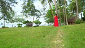 Beautiful Woman in Red Dress Walking in Tropical Garden. On this video you can see as the woman in a red dress walks on a tropical garden. The woman in a long stock footage