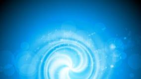 Videoanimation des glänzenden blauen Strudels mit Funken stock abbildung
