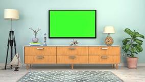 Videoanimation - Innenraum eines skandinavischen Wohnzimmers mit Anrichten lizenzfreie abbildung