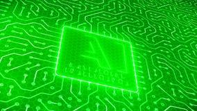 Videoanimation obwód deska z jednostki centralnej zestaw chipów i wiadomości AI Sztucznej inteligencji technologią ilustracja wektor