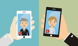 Videoanruf, bewegliche Sitzung, on-line-Videochat Illustration des Konzeptes 3D Lizenzfreies Stockfoto